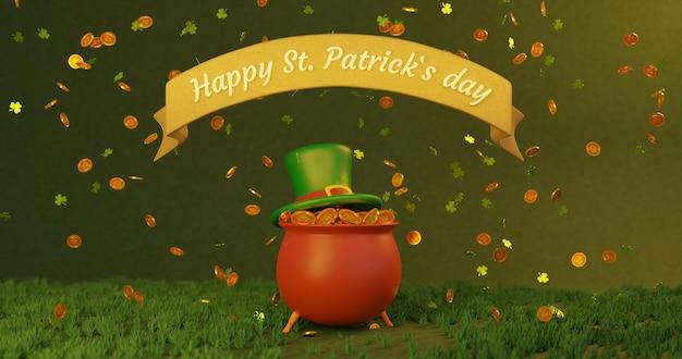 Saint patricks day, pot met goud met dynamische munten en klaverteken. 3d-gerenderde afbeelding in 4k
