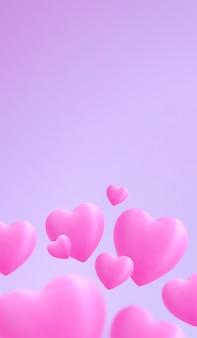 Saint valentine dag. schattige roze hartjes onderaan op de foto met zachte roze kleur achtergrond. ruimte voor tekst