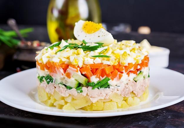 Salade van kabeljauwlever met eieren, komkommers, aardappelen, groene ui en wortel in een bord.
