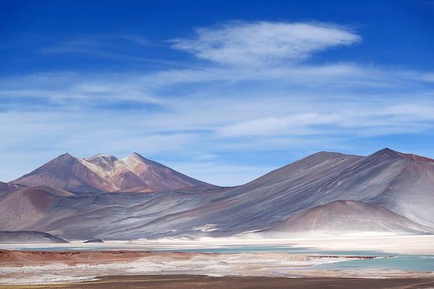 Salar de talar de zoutmeren van het hoogplateau in het nationale reservaat los flamencos, noordelijk chili
