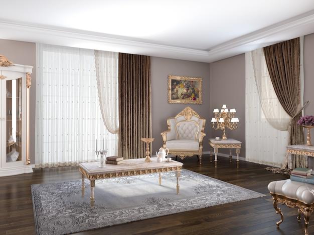 Salon met decoratie