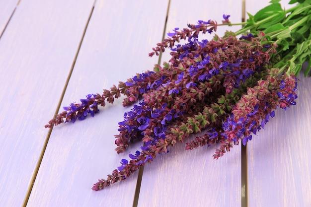 Salvia bloemen op paarse houten tafel