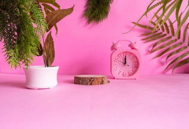 Samenstelling ideeën concept met producten. rond hout op een roze achtergrond versierd met, droge bladeren, dennenbladeren en klok