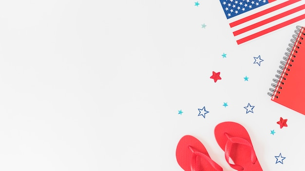 Samenstelling in kleuren van de amerikaanse vlag