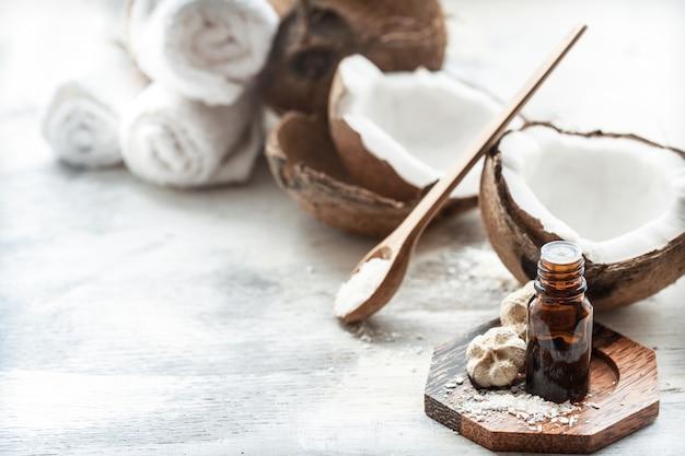 Samenstelling met kokosolie en verse kokosnoot