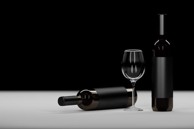 Samenstelling met twee donkere glazen wijnfles en wijnglas op zwart