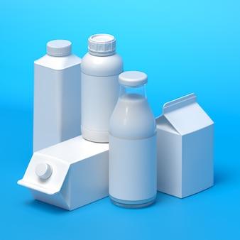 Samenstelling van 5 soorten blanco melkverpakkingen op het blauwe oppervlak. 3d-afbeelding