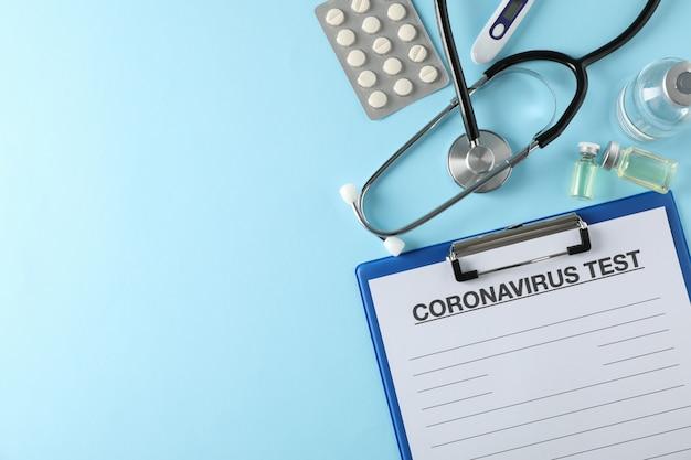 Samenstelling van beschermende middelen tegen coronavirus op blauw