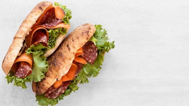 Samenstelling van bovenaanzicht de heerlijke sandwiches met exemplaarruimte