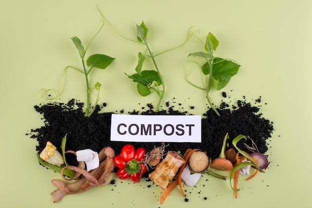 Samenstelling van compost gemaakt van rot voedsel