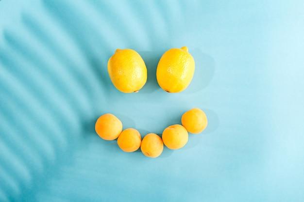 Samenstelling van gele citroenen gerangschikt in de vorm van een lachend gezicht op blauw met schaduw van palmblad