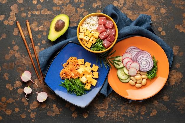 Samenstelling van hawaiiaanse poké bowl