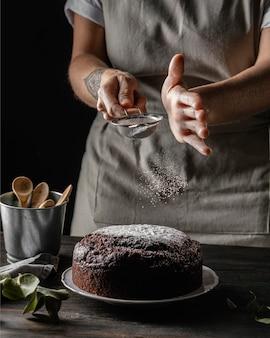 Samenstelling van heerlijke chocoladetaart