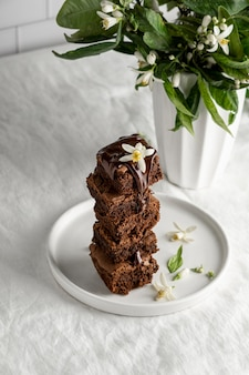 Samenstelling van heerlijke zelfgemaakte brownies