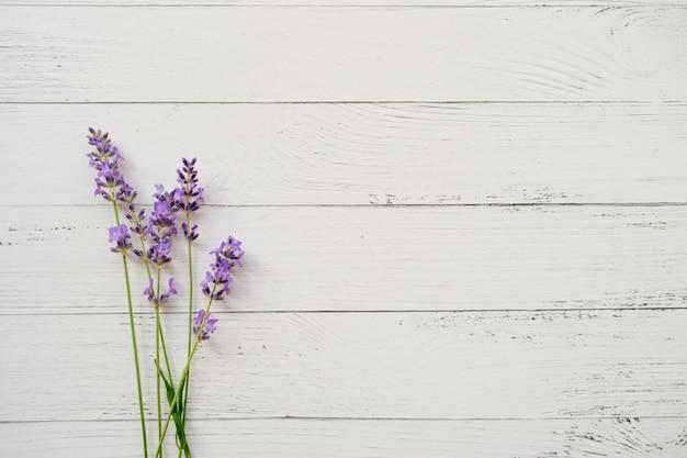 Samenstelling van lavendel op witte houten. frisse zomerbloemen.