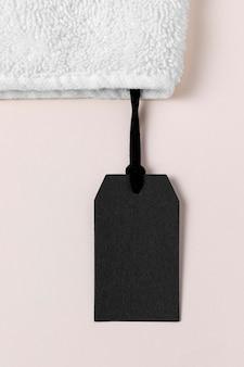 Samenstelling van lege zwarte label voor handdoek