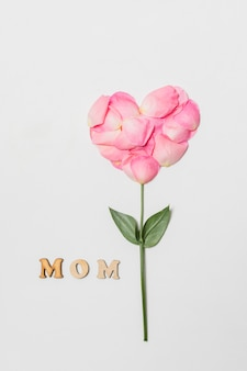 Samenstelling van moedertitel dichtbij roze bloei in vorm van hart