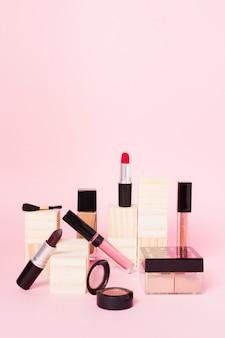 Samenstelling van professionele set voor het zetten van make-up