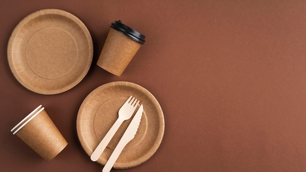 Samenstelling van verschillende eco-vriendelijke serviesgoed