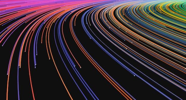 Samenvatting gekleurde telecommunicatiedraden met gloed aan het eind, 3d illustratie