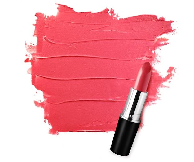 Samenvatting geschilderde rode lippenstift geweven achtergrond met lege ruimte