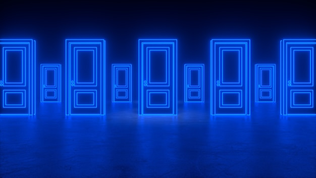 Samenvatting gesloten deuren op een rij naar het universum