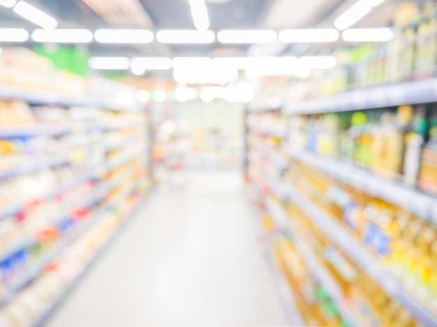 Samenvatting vage supermarkt, stedelijk levensstijlconcept. ondiepe dof