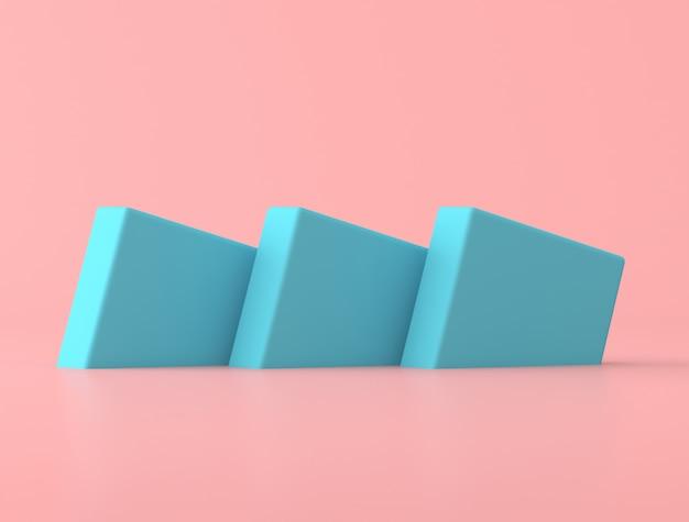 Samenvatting van blauwe geometrische vorm op roze achtergrond, pastelkleuren, minimale stijl, 3d-rendering