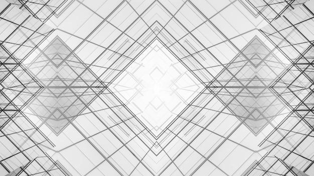 Samenvatting van de architectuur van de geometrie op glazen venster achtergrond.