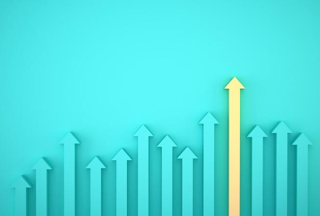 Samenvatting van gele pijlgrafiek op blauwe achtergrond, toekomstig groeiplan. bedrijfsontwikkeling tot succes en groeiend groeiconcept.