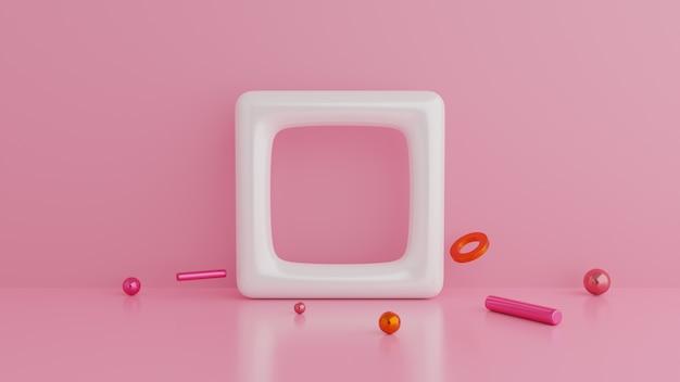 Samenvatting van geometrische vormen. roze muur minimalistische achtergrond.