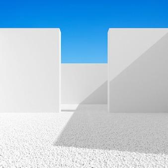 Samenvatting van minimale architectuurruimte met witte muur op blauwe hemelachtergrond