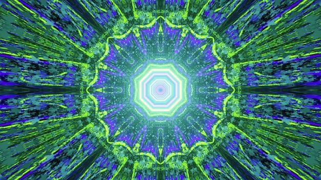 Samenvatting van symmetrisch verlicht caleidoscooppatroon met heldere stralen in 3d illustratie