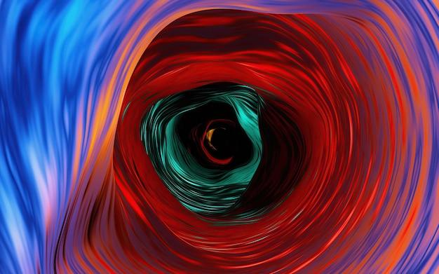 Samenvatting van veelkleurige ronde draai of werveling vervagen lijnen met zwarte kleur in het midden. blauwe en hete rode, oranje toonachtergrond.