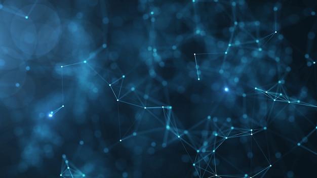 Samenvatting verbonden punten en lijnen op blauwe achtergrond. communicatie- en technologienetwerk