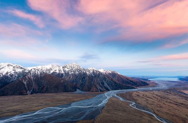 Samenvloeiing van tasman en hooker rivers tasman valley aoraki mount cook national park