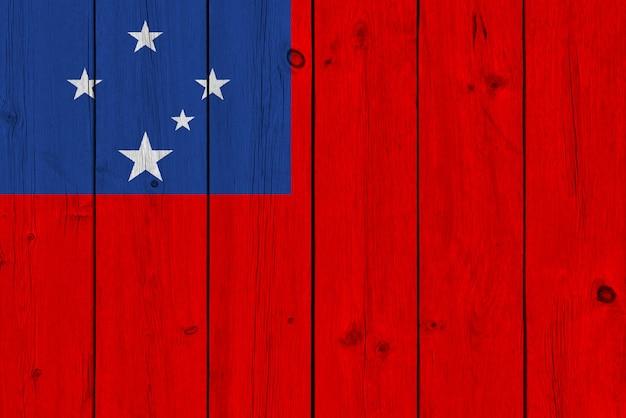 Samoa vlag geschilderd op oude houten plank