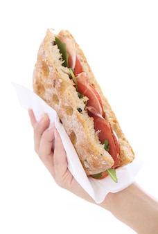 Sandwich in een hand