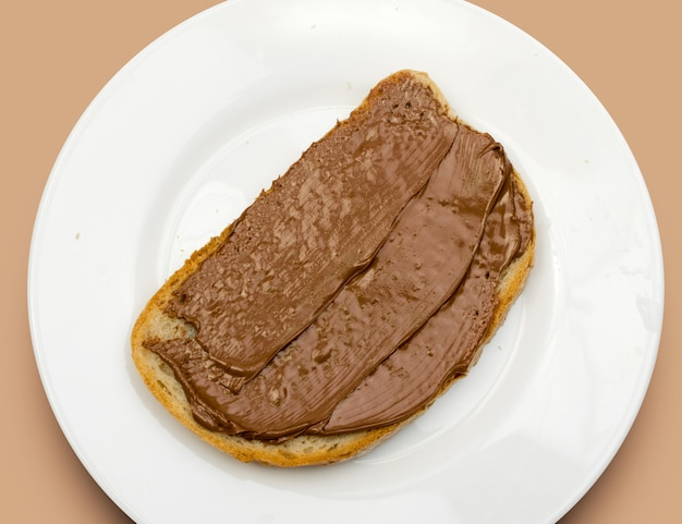 Sandwich met chocoladepasta bovenaanzicht