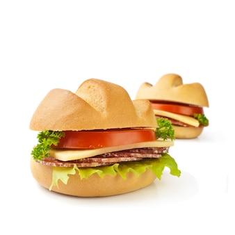 Sandwichclose-up op een wit