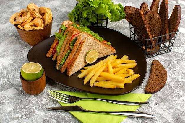 Sandwiches en frietjes samen met zwart brood op grijs