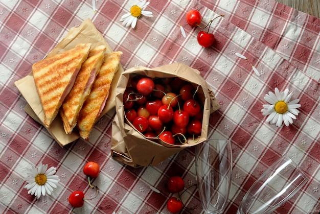 Sandwiches, kersen en kamille op het tafelkleed in een kooi - ontbijt op het gras
