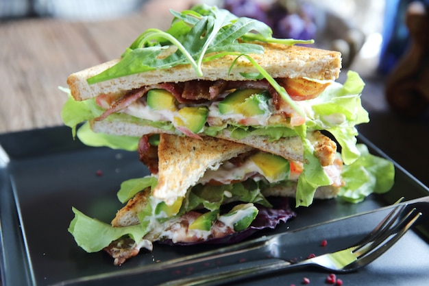Sandwiches met meet en groenten op hout achtergrond