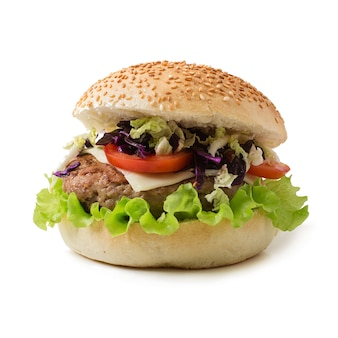Sandwichhamburger met sappige burgers, kaas en mix van kool