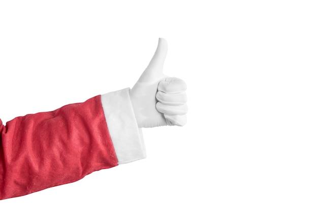 Santa claus-hand die duimen op gebaar toont dat over witte achtergrond wordt geïsoleerd