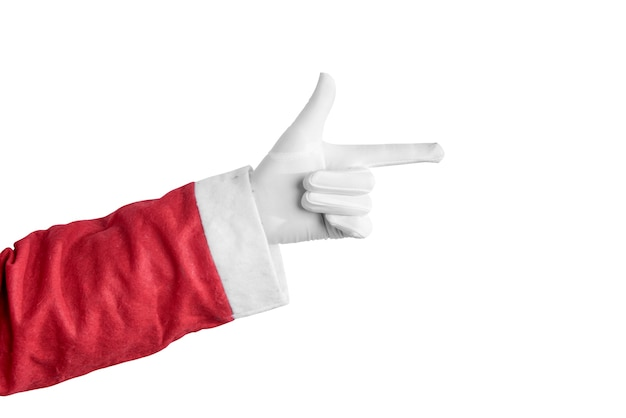 Santa claus-hand die iets richt dat over witte achtergrond wordt geïsoleerd