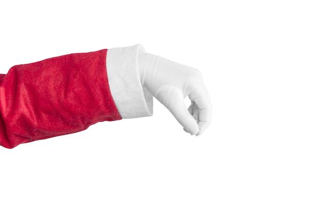 Santa claus hand met iets geïsoleerd op witte achtergrond
