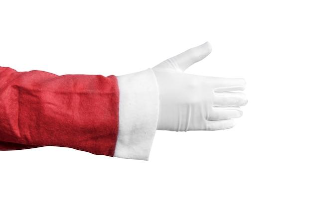 Santa claus-handaanbieding om handen te schudden die over witte achtergrond worden geïsoleerd