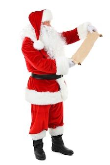 Santa claus met lijst met geïsoleerde wensen