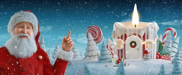 Santa claus wijzend op lege ruimte. geweldig sprookjeshuis versierd met kerstmis in de vorm van een kaars met kerstverlichting. kerst 3d illustratie. vrolijk kerstfeest en een gelukkig nieuwjaar